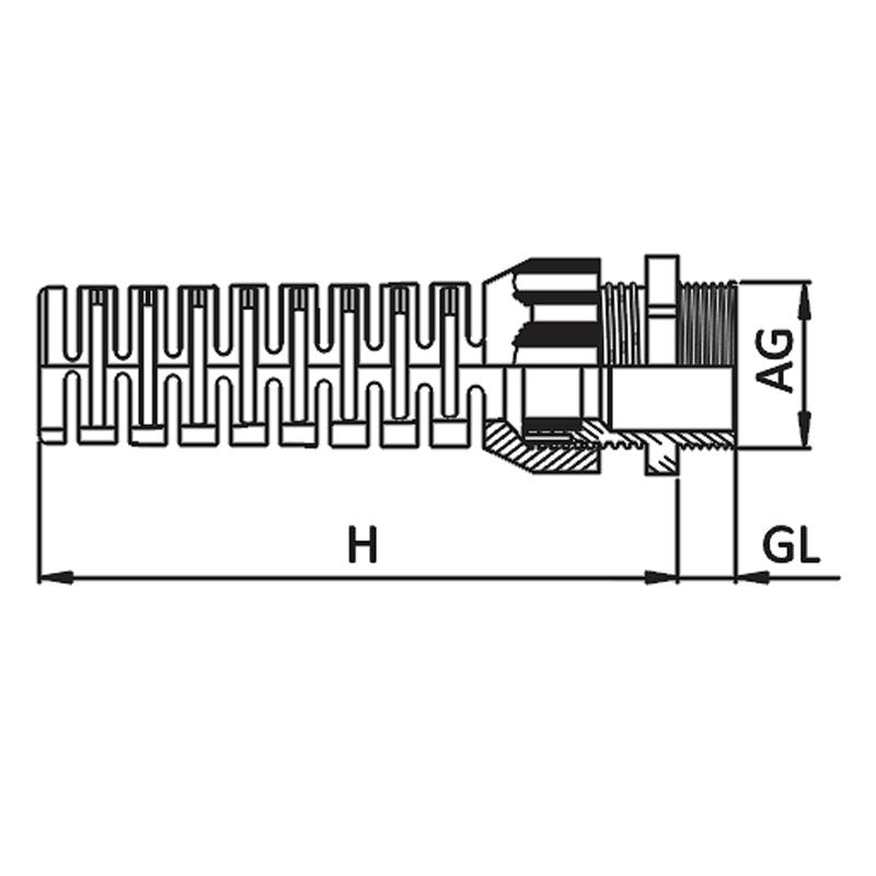 Nsv Industriekomponenten Kabelverschraubungen Knickschutz Mass Zeichnung