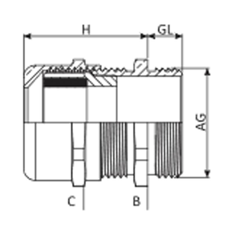 Nsv Industriekomponenten Kabelverschraubungen Messing Mass Zeichnung