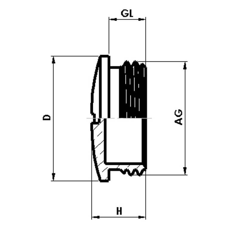 Nsv Industriekomponenten Kabelverschraubungen Blindstopfen Messing Vernickelt Masszeichnung 1