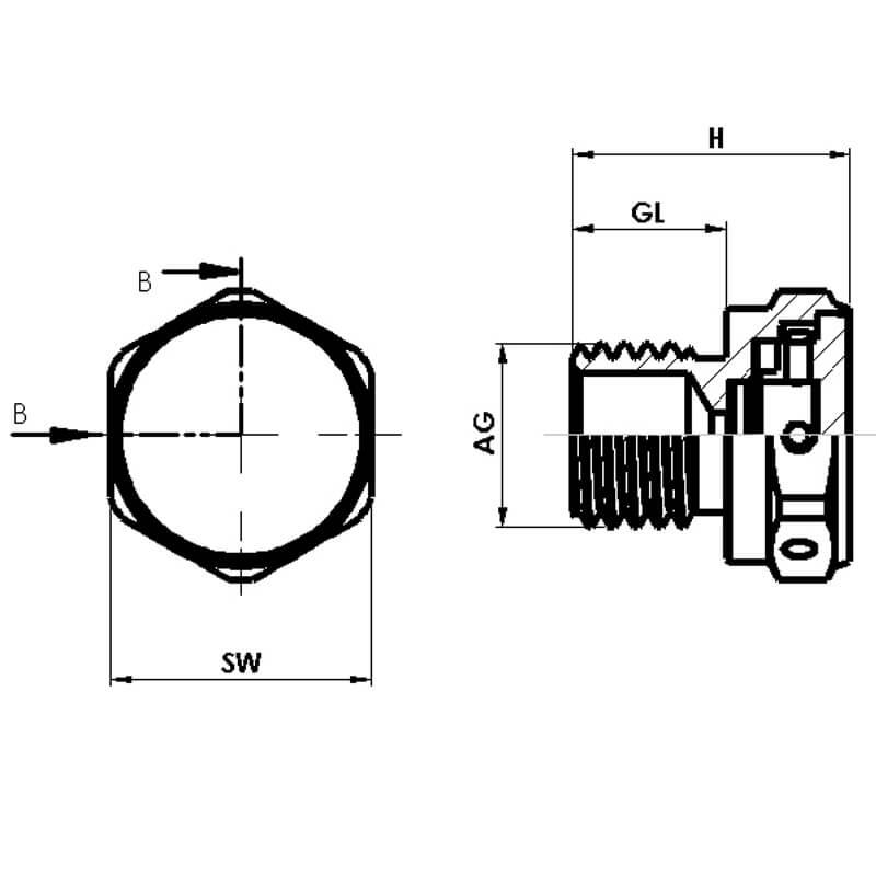 Nsv Industriekomponenten Kabelverschraubungen Entlueftungsventil Masszeichnung 2