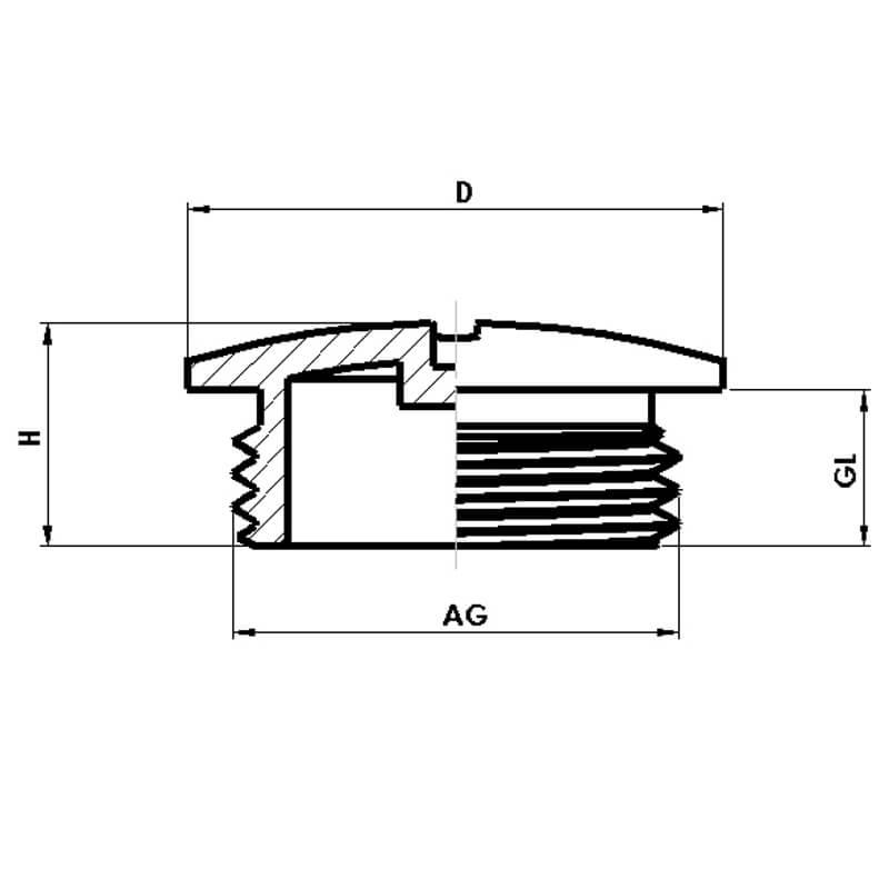 Nsv Industriekomponenten Kabelverschraubungen Kunststoff Blindstopfen Masszeichnung