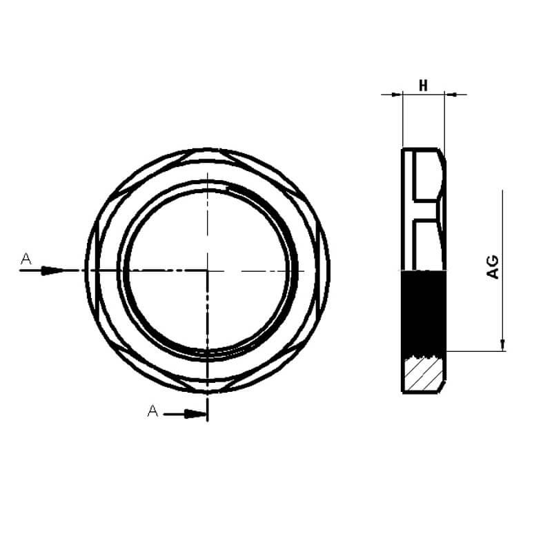 Nsv Industriekomponenten Kabelverschraubungen Kunststoff Gegenmuttern Mit Kragen Masszeichnung